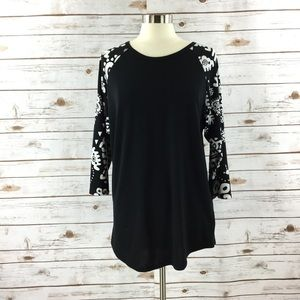 LuLaRoe Black Randy Raglan Base Ball Tee Shirt